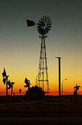 Streetlight Prints - Windmill At Sunset Print by Marco Oliveira