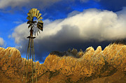 Las Cruces Art Prints - Windmill At The Organ Mountains New Mexico Print by Bob Christopher