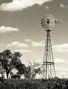Clay Center Prints - Windmill BW Print by Tracy Salava
