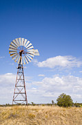 Irrigation Posters - Windmill in Outback Queensland Australia Poster by Colin and Linda McKie