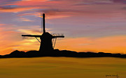 Netherlands Paintings - Windmill in the Evening by Nydia Williams