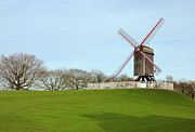 Rotate Framed Prints - Windmill in the park in Bruges Belgium Framed Print by Kiril Stanchev
