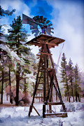 Southern California Digital Art - Windmill in the Snow Impressionistic by Scott Campbell