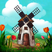 Design Mixed Media - Windmill Path by Bedros Awak