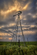 Plains Prints - Windmill Storm Print by Thomas Zimmerman