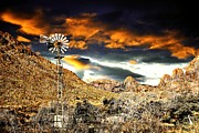 Las Cruces New Mexico Digital Art Framed Prints - Windmill Sunset Framed Print by Barbara Chichester