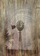 Country Scenes Mixed Media Prints - Windmill Print by Timothy Clinch