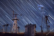 Startrails Photo Prints - Windmill trails Print by Shawn Erickson