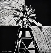 Linocut Mixed Media Posters - Windmill Poster by Verana Stark