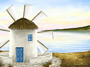 Windmills Framed Prints - Windmill Framed Print by Veronica Minozzi