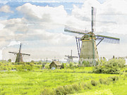 Patricia Hofmeester Metal Prints - Windmills at Kinderdijk in  the Netherlands Metal Print by Patricia Hofmeester
