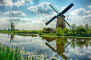 Water Lilly Photos - Windmills - Holland by Philip Sweeck