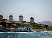 Historic Ship Prints - Windmills of Mykonos Print by Julie Palencia