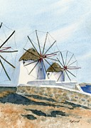 Greece Painting Originals - Windmills of Mykonos by Marsha Elliott
