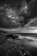 Stormy Photos - WindNSea Stormy Sky BW by Peter Tellone