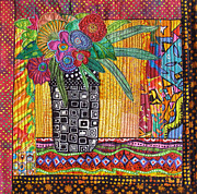 Greeting Card Tapestries - Textiles - Window Bouquet by Susan Rienzo