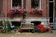 Amsterdam Photos - Window box bicycle and bench by Thomas Marchessault