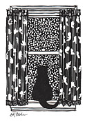 Linoleum Mixed Media Posters - Window Cat - linocut print Poster by Glenda Blake