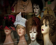 Apparel Framed Prints - Window Display of Wigs and Hats Framed Print by Randall Nyhof