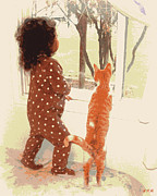 Pajamas Prints - Window Gazing  Print by Heidi Manly