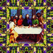 Christ Face Digital Art Prints - Window Into The Last Supper 20130130m138 Print by Wingsdomain Art and Photography