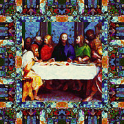 Christ Face Digital Art Prints - Window Into The Last Supper 20130130p0 Print by Wingsdomain Art and Photography