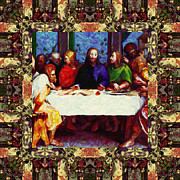 Christ Face Digital Art Prints - Window Into The Last Supper 20130130sep Print by Wingsdomain Art and Photography