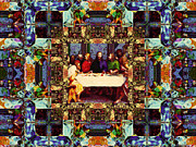 Christ Face Digital Art Prints - Window Into The Last Supper 20130130v2-horizontal Print by Wingsdomain Art and Photography