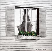Curtains Mixed Media Posters - Window Poster by Michelle Strasser
