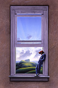 Clouds Painting Framed Prints - Window of Dreams Framed Print by Jerry LoFaro