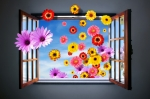 Green Metal Prints - Window of Fowers Metal Print by Carlos Caetano