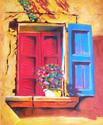 France Doors Painting Posters - Window on the Rue in Roussillon France Poster by Susi Franco