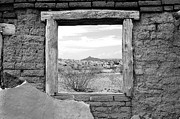 Travelpixpro Posters - Window onto Big Bend Desert Southwest Black and White Poster by Shawn OBrien