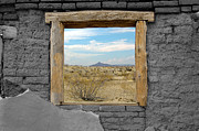 Beauty In Nature Metal Prints - Window onto Big Bend Desert Southwest Color Splash Black and White Metal Print by Shawn OBrien