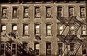 New York City Fire Escapes Photos - Window Row  by Miriam Danar