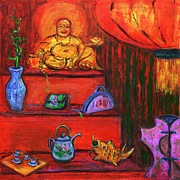 Oriental Teapot Prints - Window Shopping 2 Print by Xueling Zou