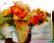 Vase Of Flowers Digital Art Prints - Window Sill Nasturtians Print by Linde Townsend