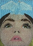 Mosaic Portrait Glass Art - Window to the World by Liza Wheeler