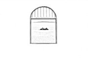 Window View Of Desert Island Puerto Rico Prints Black And White Line Art Print by Shawn OBrien