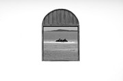 Window View Of Desert Island Puerto Rico Prints Black And White Print by Shawn OBrien