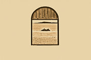 Puerto Rico Digital Art Prints - Window View of Desert Island Puerto Rico Prints Rustic Print by Shawn OBrien