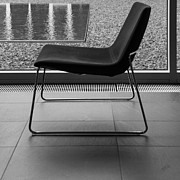 Glass Wall Posters - Window View With Chair In Black And White Poster by Ben and Raisa Gertsberg