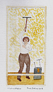 Worker Mixed Media Posters - Window Washer Poster by Fred Jinkins