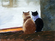 Black And White Cats Pastels - Window Watching by Lenore Gaudet