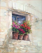 Italian Landscapes Paintings - Window with flowers by Antonietta Varallo