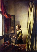 Old Age Paintings - Window woman by Johannes Vermeer