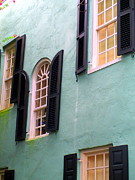 Rainbow Row Framed Prints - Windows In Charleston Framed Print by Randall Weidner