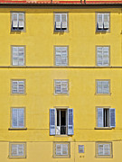 Carved Tile Posters - Windows of Florence Against a Faded Yellow Plaster Wall Poster by David Letts