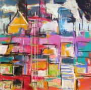 Abstract Expression Pastels - Windows of the City by John  Williams