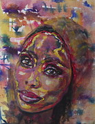 Art Of Soul Singer Prints - Windows of the Soul IMANY Nadia Mladjao in Progress Print by Anna Ruzsan